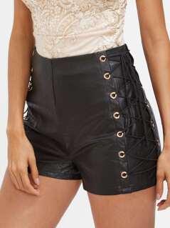 High Waist Eyelet Lace Up Side Shorts