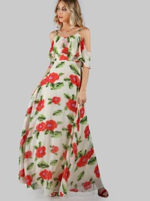 Flower Print Two Layered Flow Dress