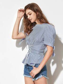 Bow Tie Puffed Sleeve Lace Up Striped Blouse