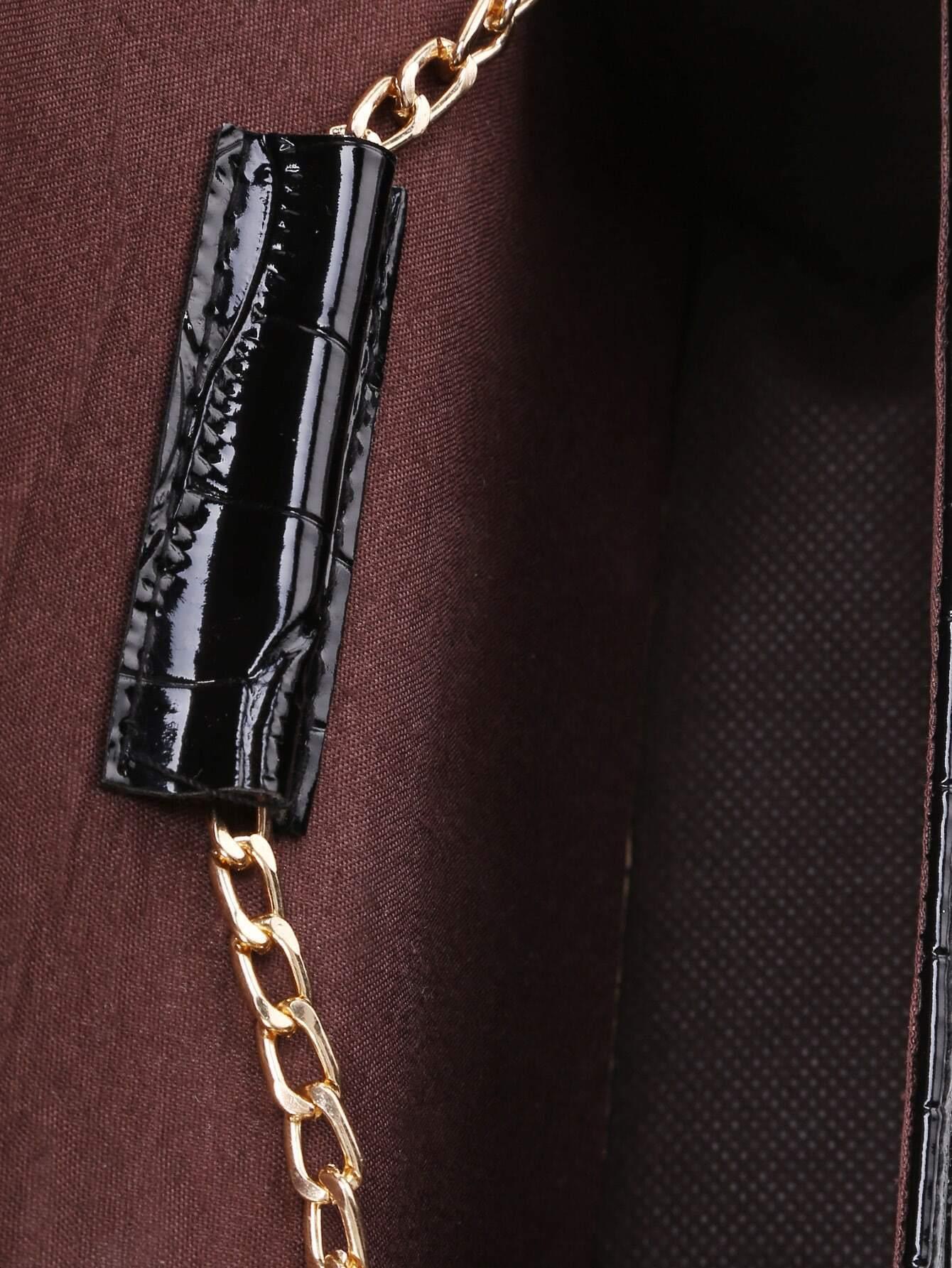 Twist Lock Crocodile PU Crossbody Bag
