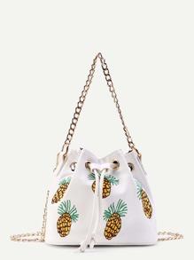 Sac à godets brodé des ananas avec lacet