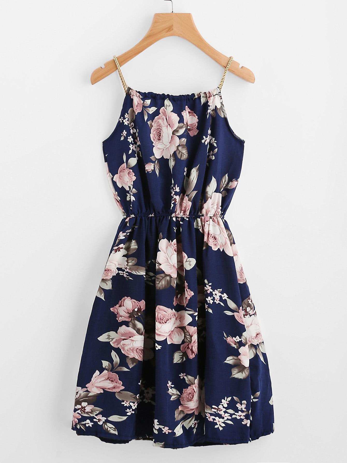 Braided Bead Strap Tie Floral Print Dress