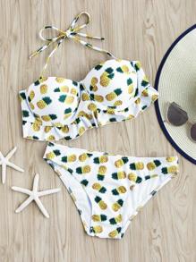 Pineapple Print Fuller Bust Bikini Set