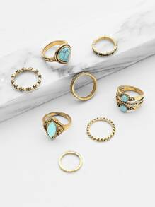 8 piezas de anillo con diseño de turquesa