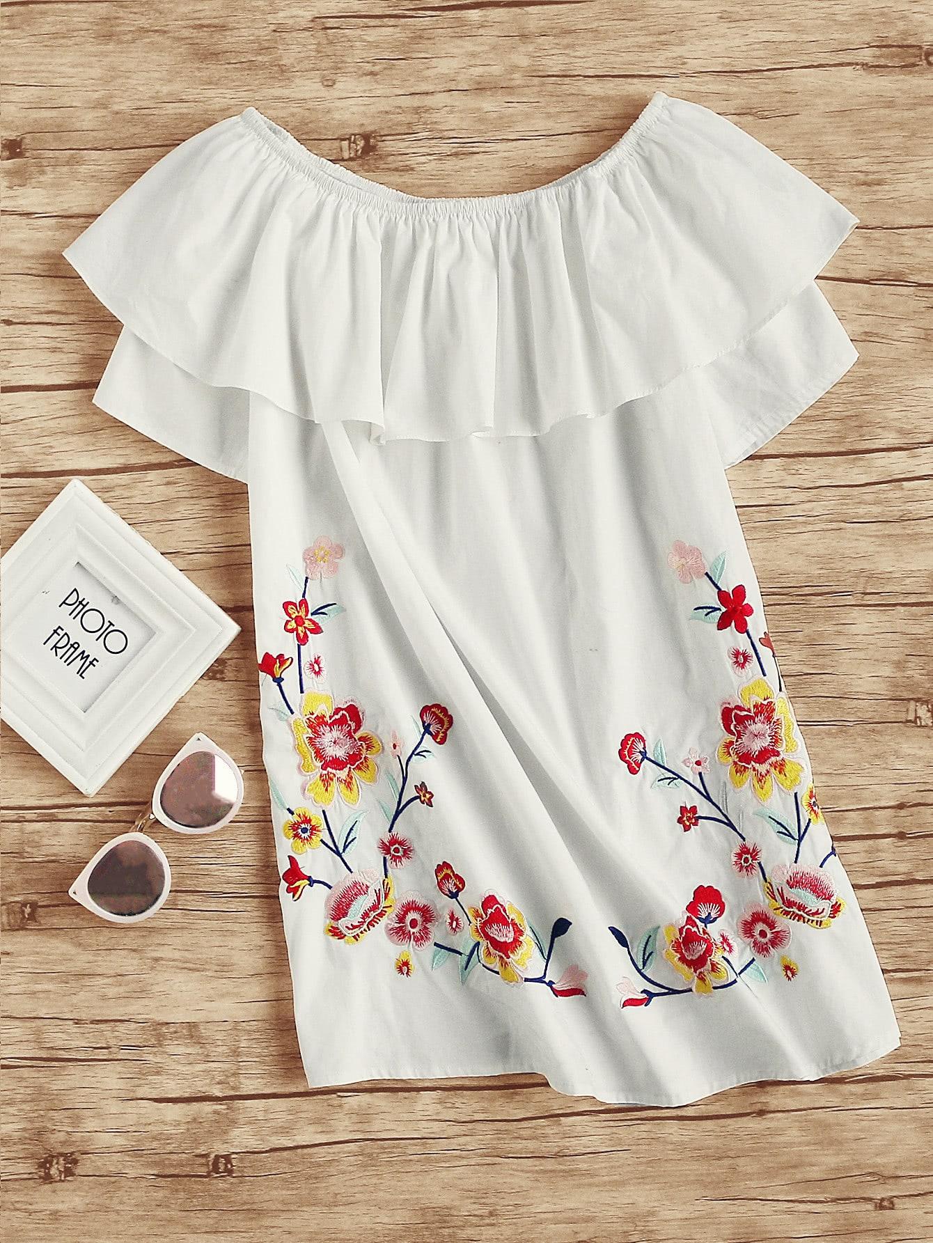 Фото Flower Embroidered Frill Bardot Dress. Купить с доставкой