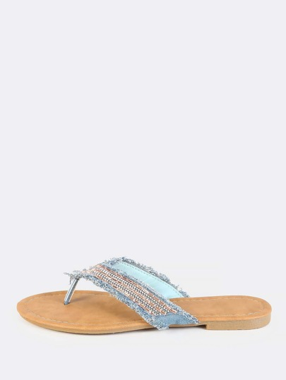 Bedazzled Distressed Denim Sandals LIGHT DENIM