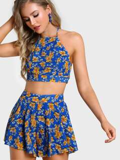 Crisscross Tie Back Racer Cami And Pleated Shorts Set