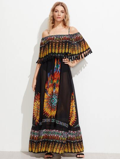 Tassel Trim Double Layer Semi Sheer Dress