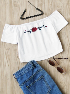 Rose Print Crop Bardot Top