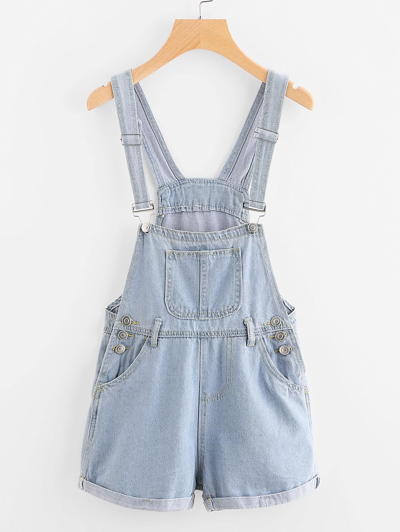 Фото Cuffed Button Detail Denim Dungaree Shorts. Купить с доставкой