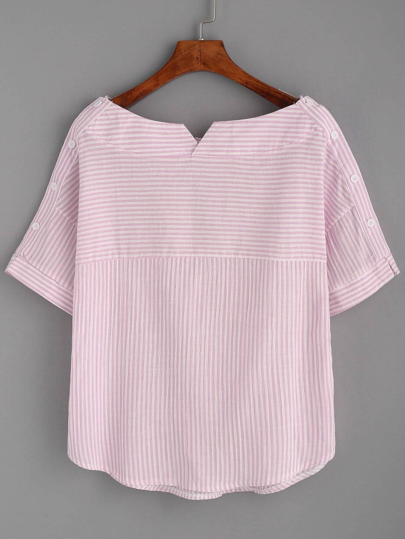 Boat Neckline Pinstripe Button Side Top blouse170619102
