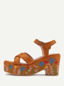 Flower Embroidery Strappy Wedge Sandals