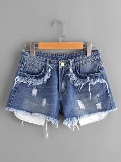 Stick Out Pocket Detail Frayed Denim Shorts
