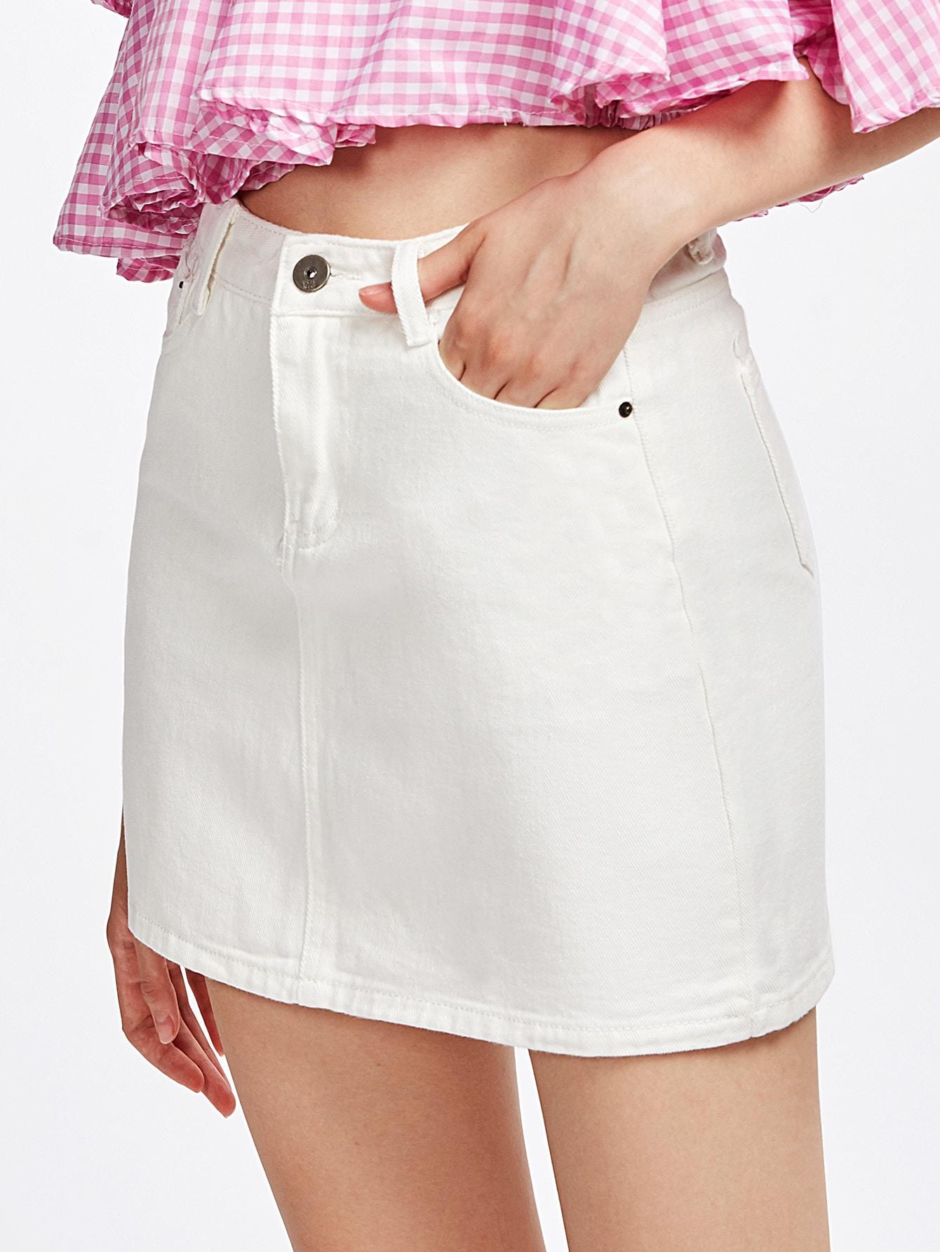 Zipper Fly Denim Skirt