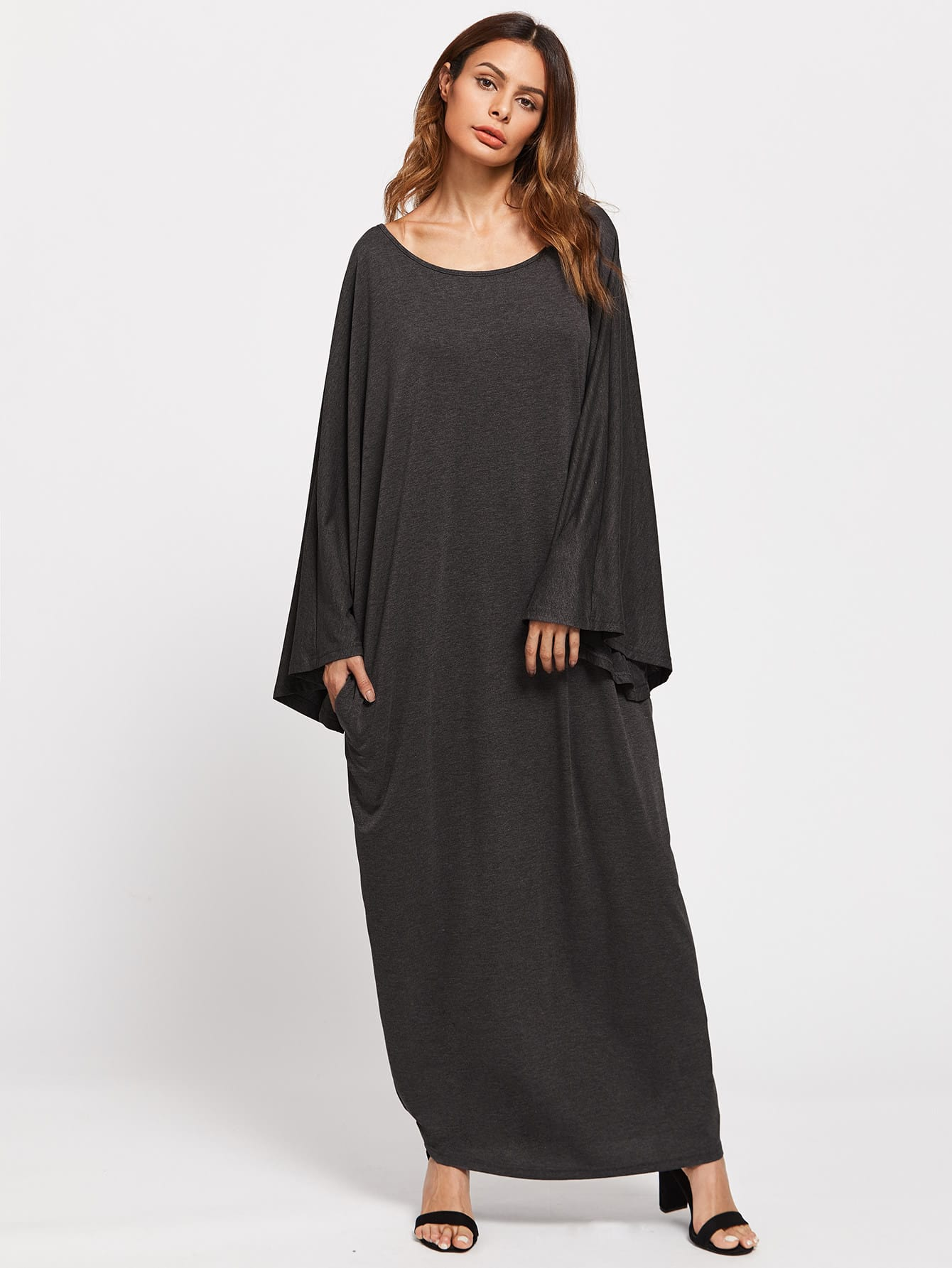 Fluted Sleeve Marled Knit Cocoon Dress
