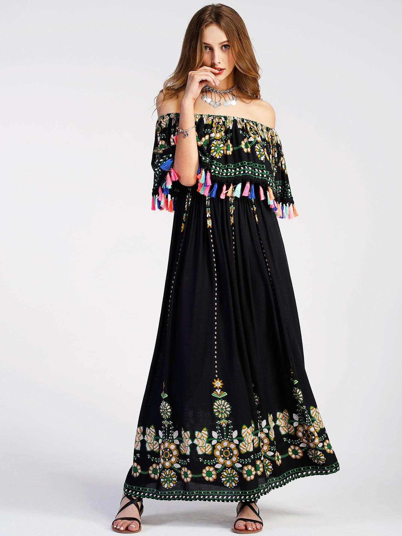 Flounce Layered Neckline Tassel Trim Aztec Print Dress dress170606110