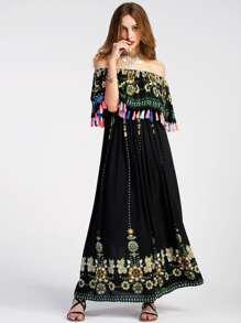 Vestido con estampado azteca y ribete de borlas