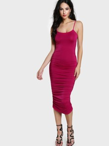 Allover Ruched Form Fitting Cami Dress