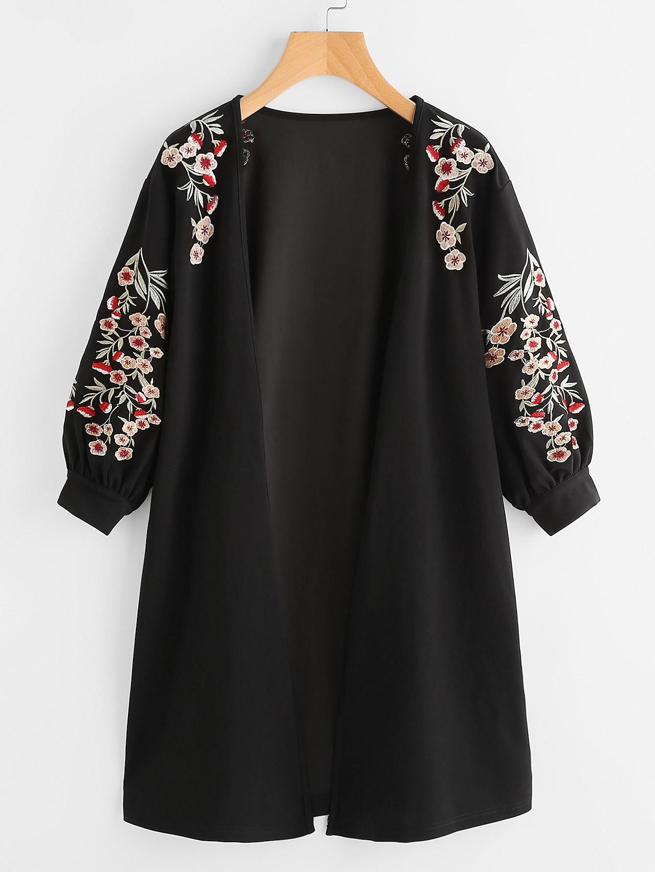 Модный кардиган с вышивкой, рукав-фонарик
