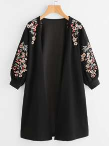 Blossom Embroidered Bishop Sleeve Cardigan