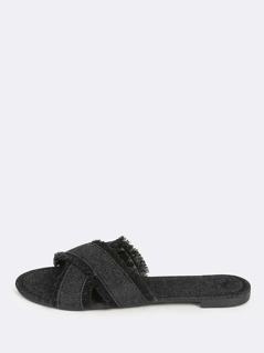 Denim Cross Band Slip Ons BLACK DENIM