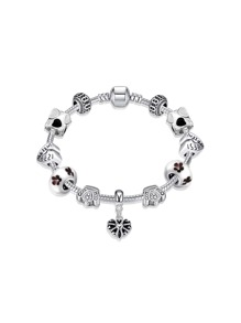 Crown Decorated Chain Bracelet With Heart