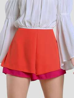 Two Layer Wide Leg Shorts