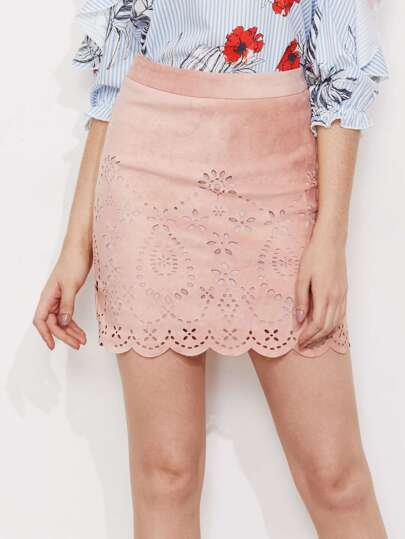 Laser Cut Scallop Edge Suede Skirt