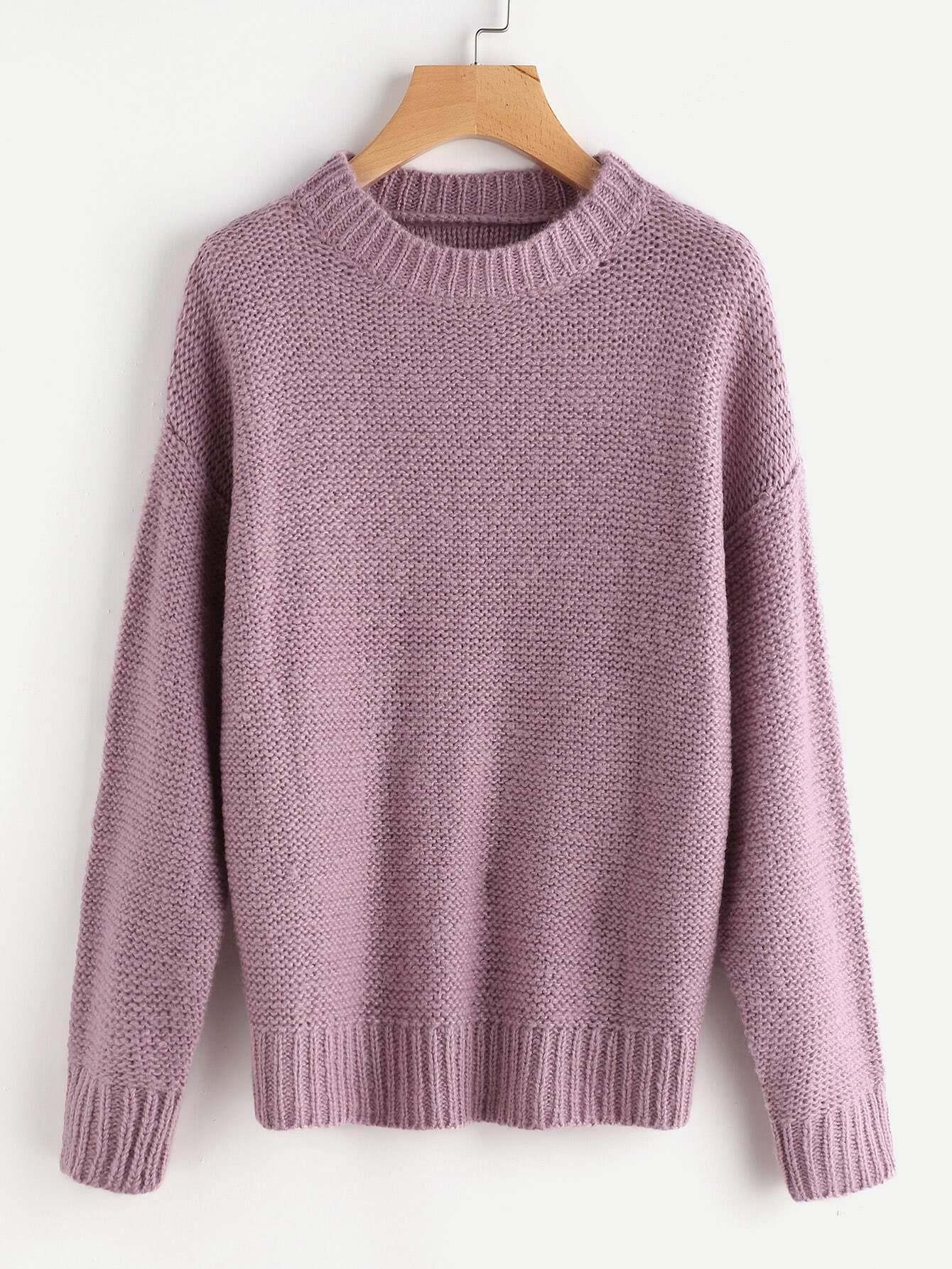 Rib Trim Drop Shoulder Jumper sweater170629457