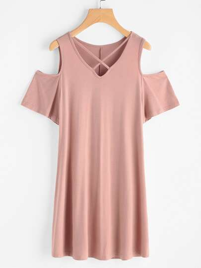 Crisscross V Neck Open Shoulder Tee Dress