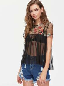 Flower Embroidered Yoke Sheer Smock Top
