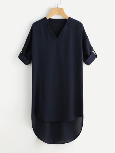 Drop Shoulder Roll Tab Sleeve Dip Hem Dress