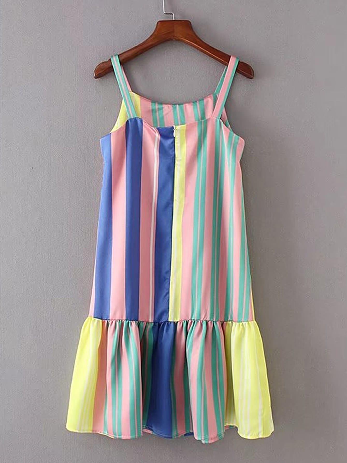 Фото Vertical Striped Ruffle Hem Cami Dress. Купить с доставкой