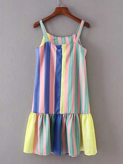 Vertical Striped Ruffle Hem Cami Dress