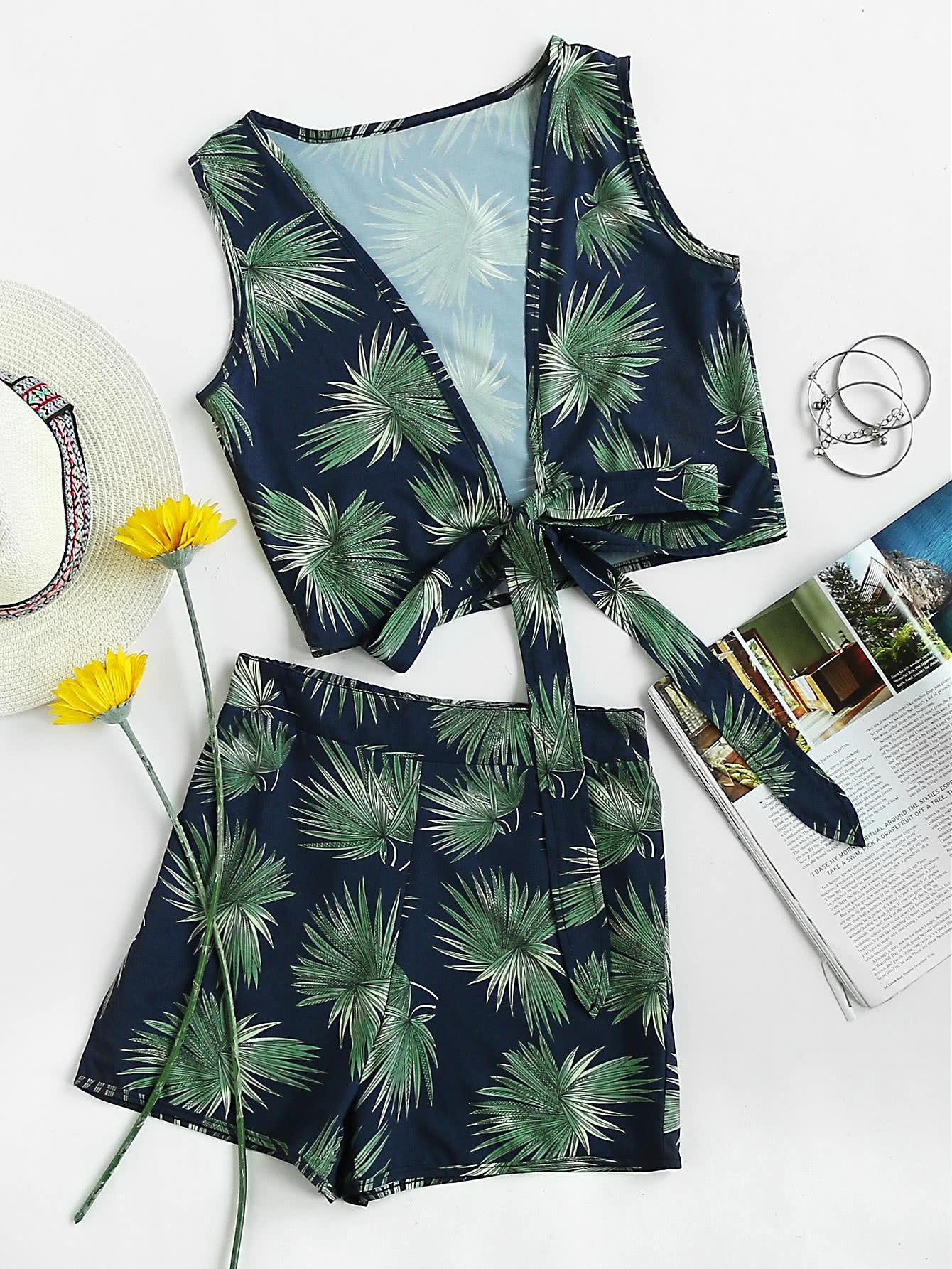 Фото Plunging V Neckline knot Leaf Print Top With Shorts. Купить с доставкой