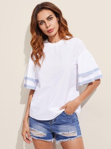 Layered Bell Sleeve Contrast Trim Tied Back Blouse