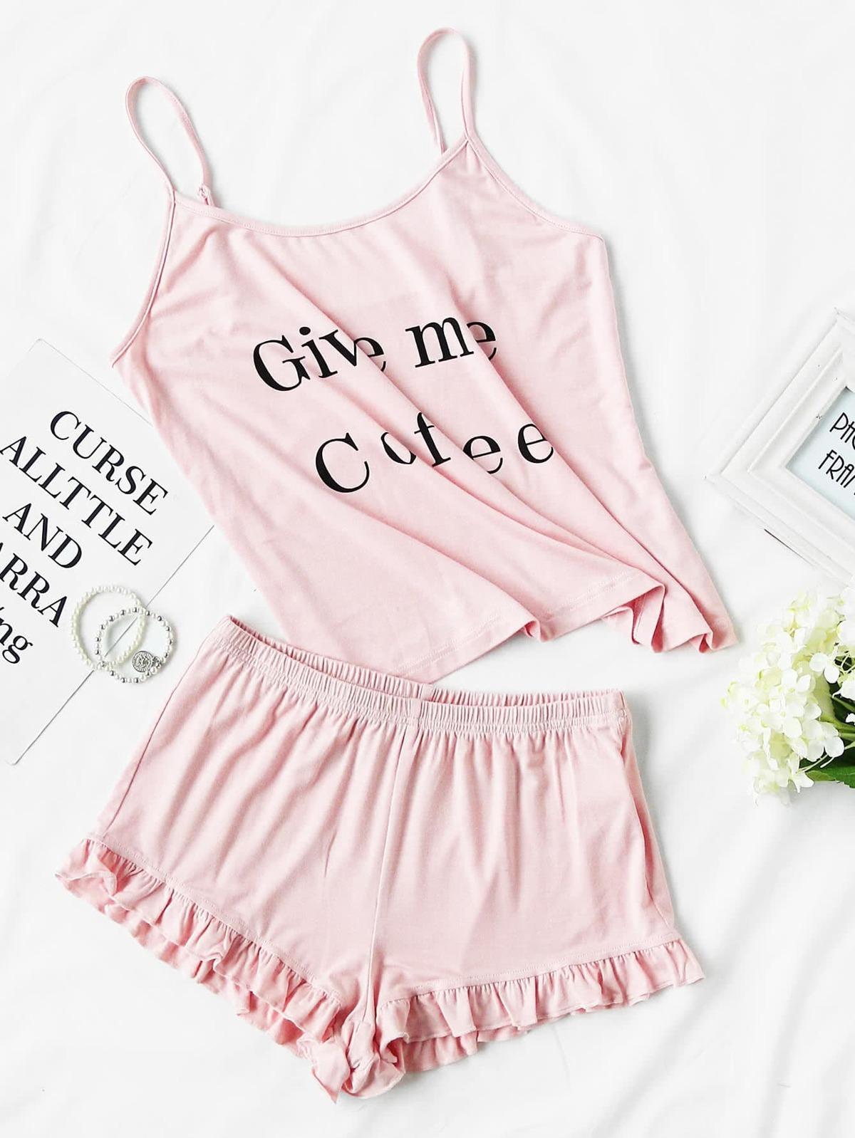 字母 圖片 無袖女用胸衣 荷葉邊 短褲 睡衣褲組