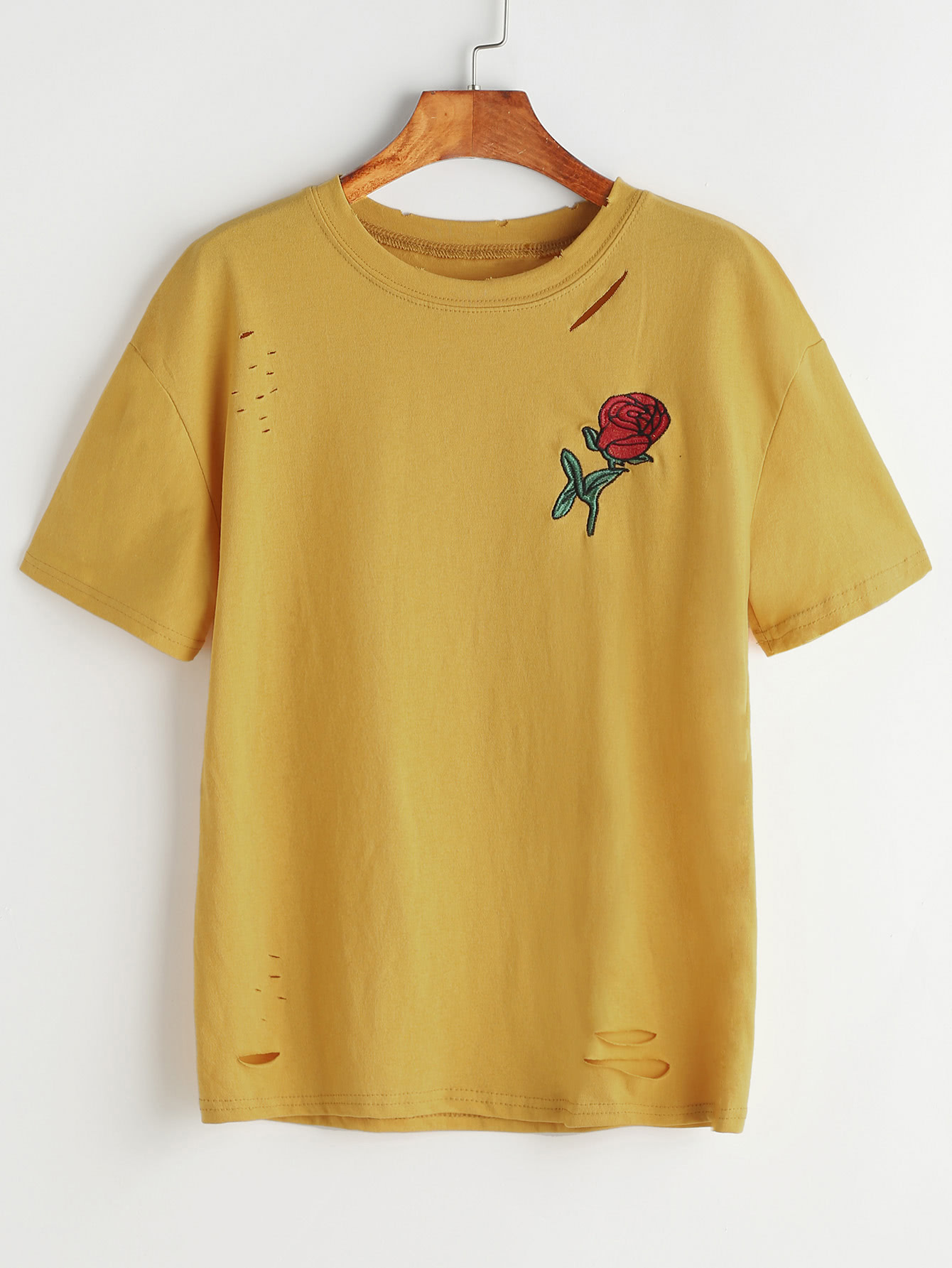 Rose embroidered slashed t shirt shein sheinside for How to embroider t shirts