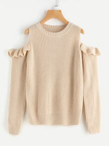Frilled Open Shoulder Jumper
