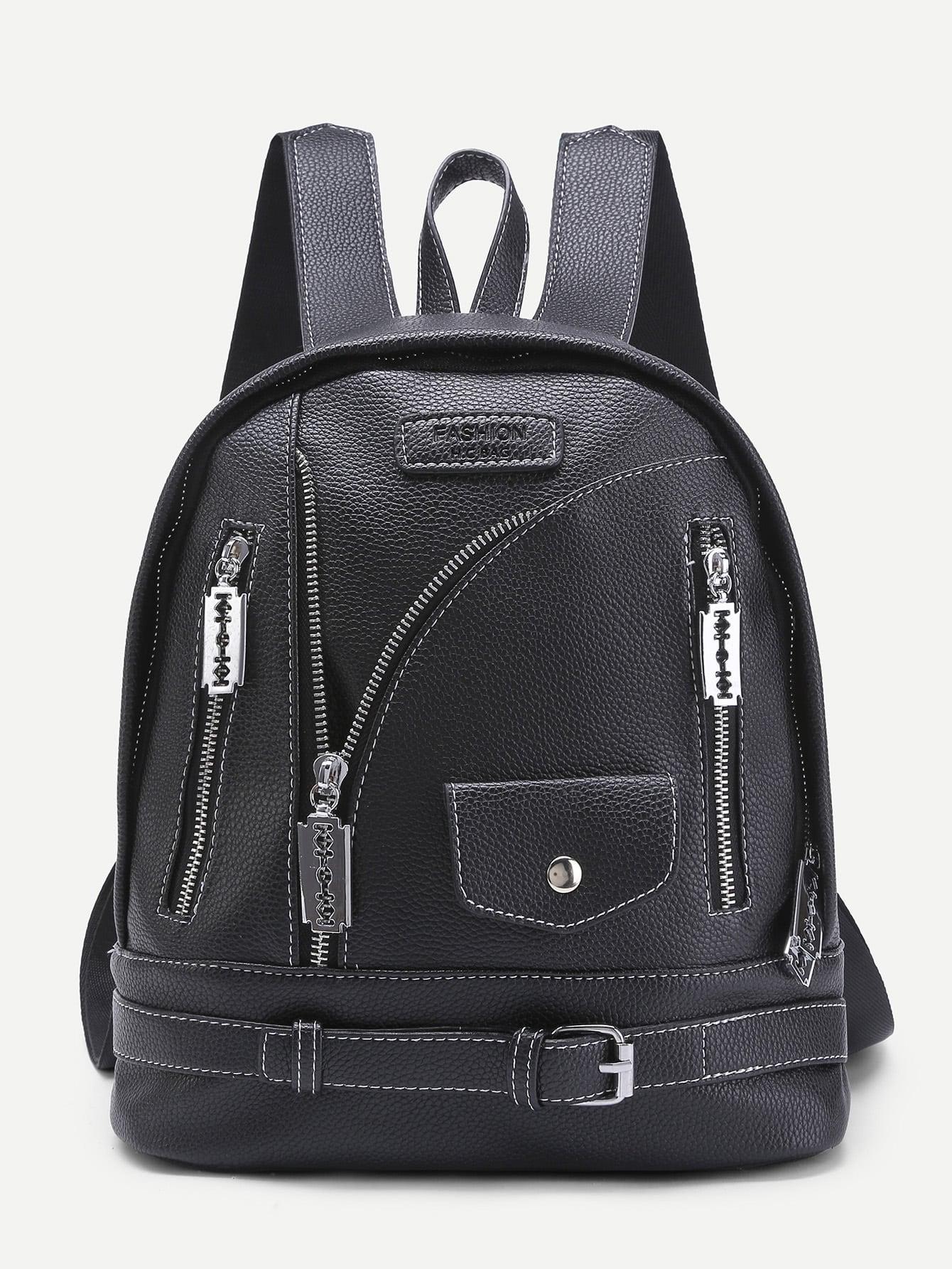 Фото Zipper And Buckle Design PU Backpack. Купить с доставкой
