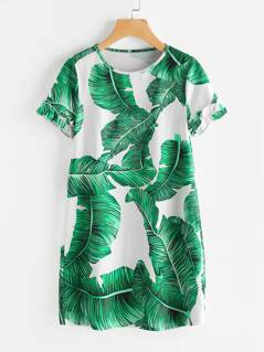Palm Leaf Print Frilled Sleeve Dress