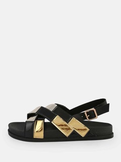 Patent Cross Sling Back Sandals BLACK