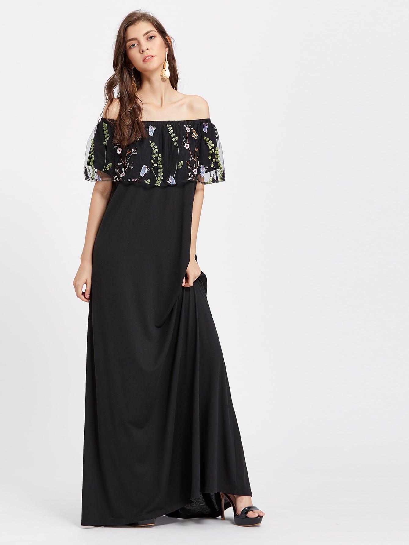 Фото Embroidered Mesh Flounce Layered Neckline Dress. Купить с доставкой