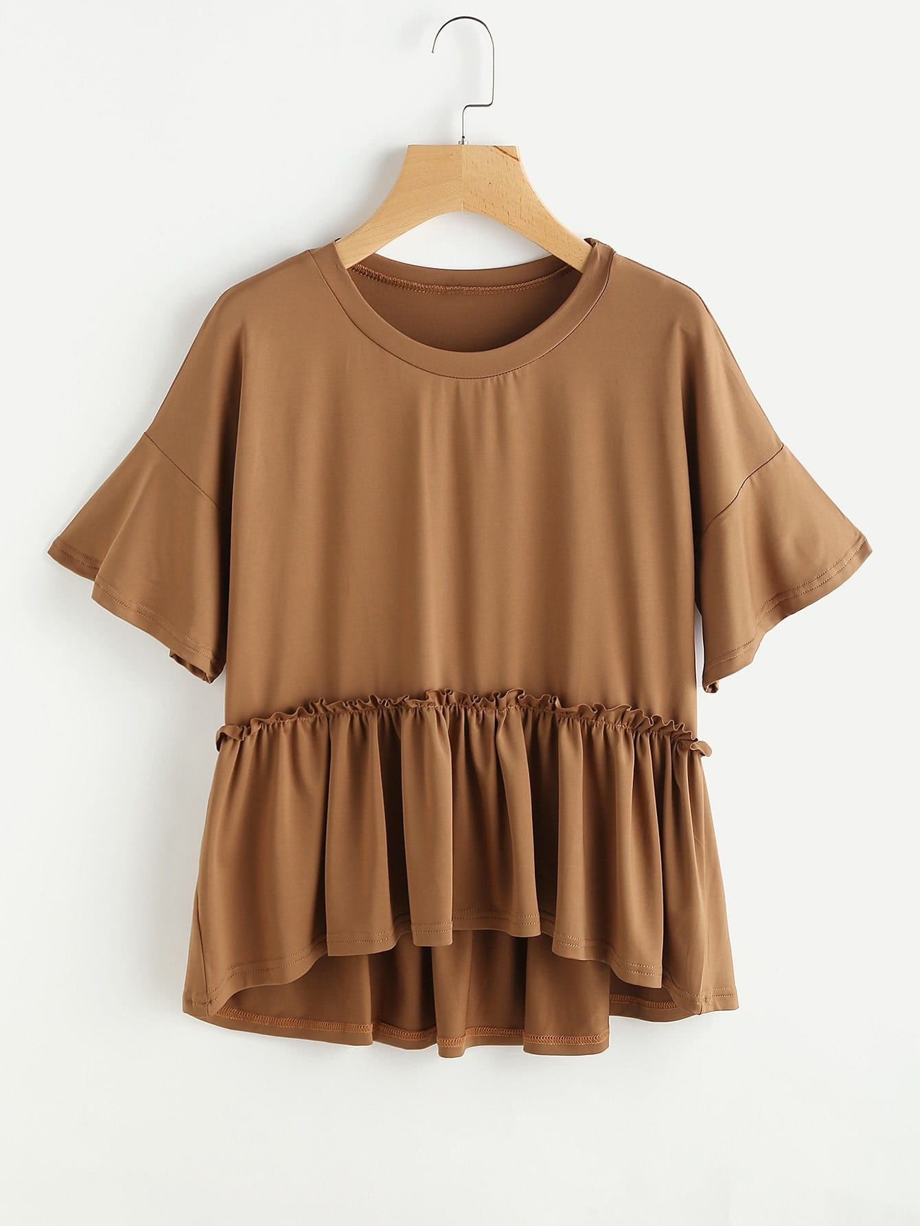 Drop Shoulder Dip Hem Smock Tee drop shoulder frill hem batwing sweatshirt