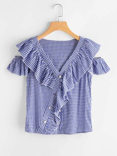 Frill Detail Open Shoulder Asymmetric Placket Gingham Blouse