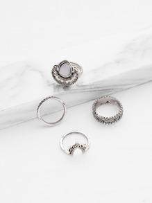 Gemstone Detail Multi Shaped Ring Set 4pcs