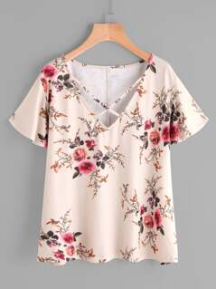 Crisscross Neck Flower Print T-shirt
