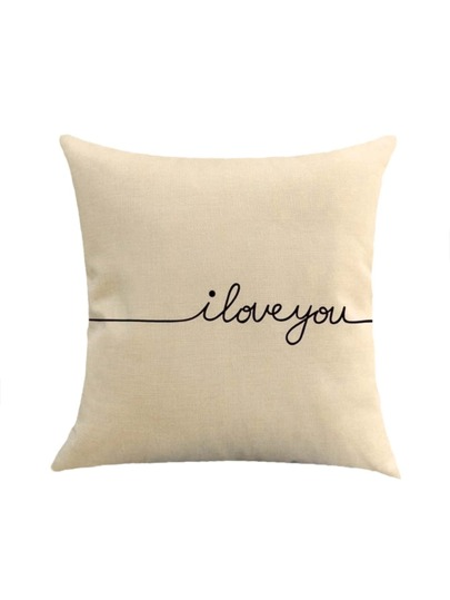 Contrast Letter Print Cushion Cover
