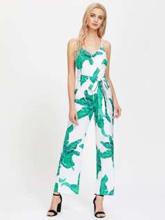 Palm Leaf Print Self Tie Cami Jumpsuit