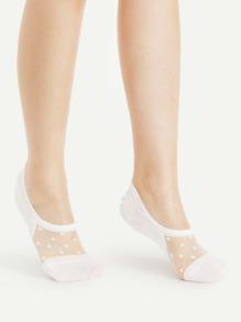 Calcetines invisible de malla con lunares